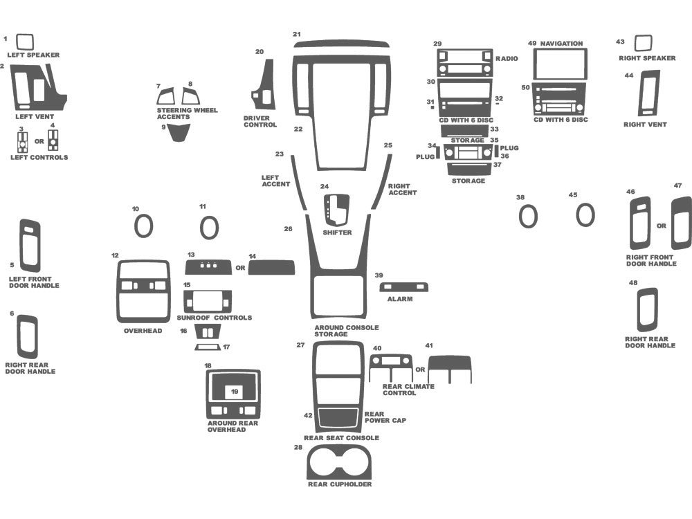 Cadillac STS 2008-2011 Dash Kit Schematic