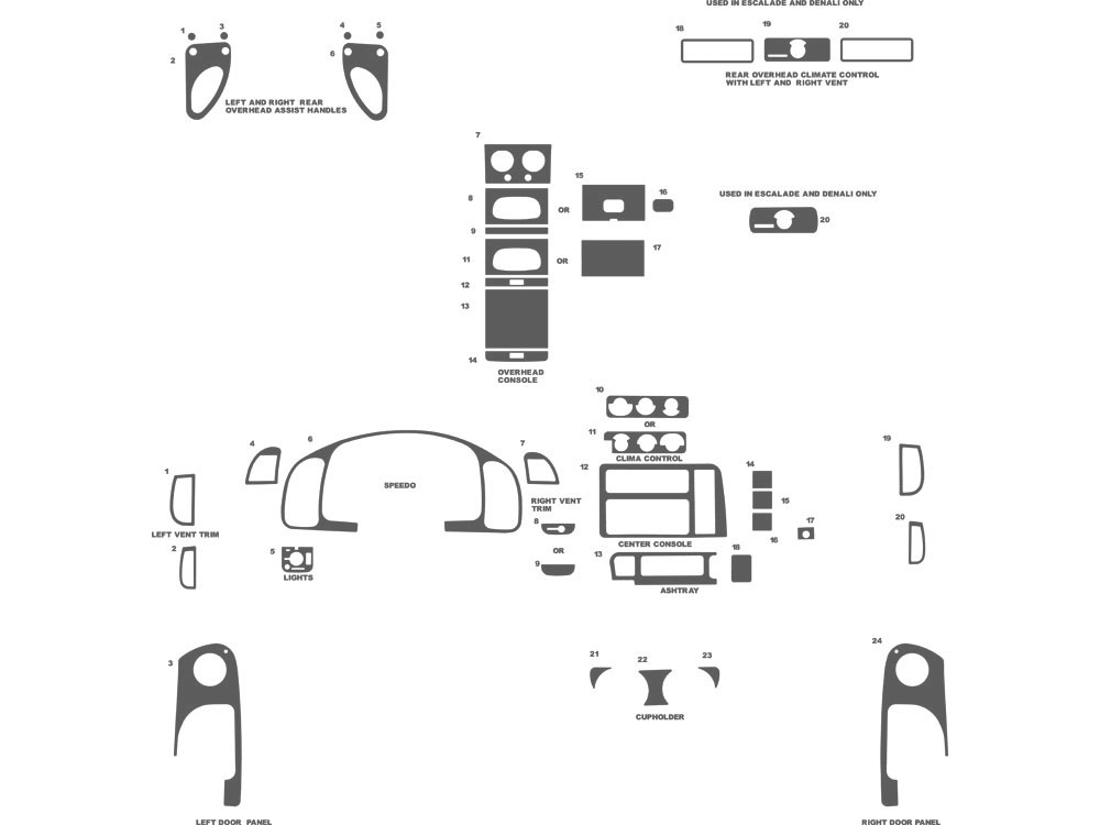 GMC Safari 1996-2005 Dash Kit Schematic