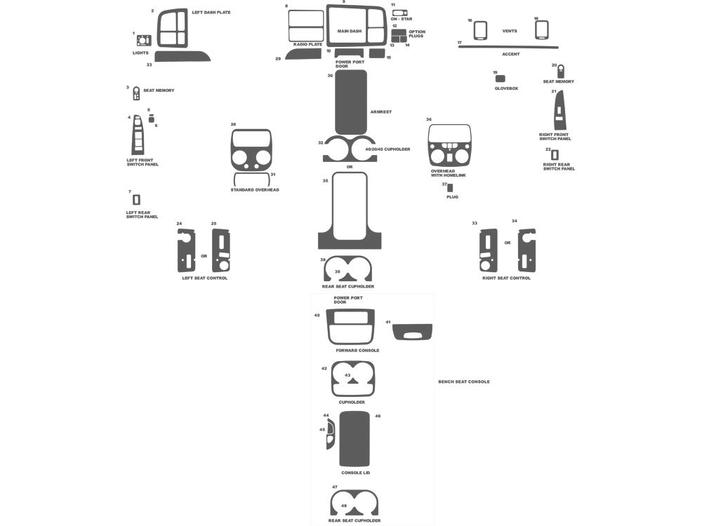 GMC Sierra 1999-2002 Dash Kit Schematic