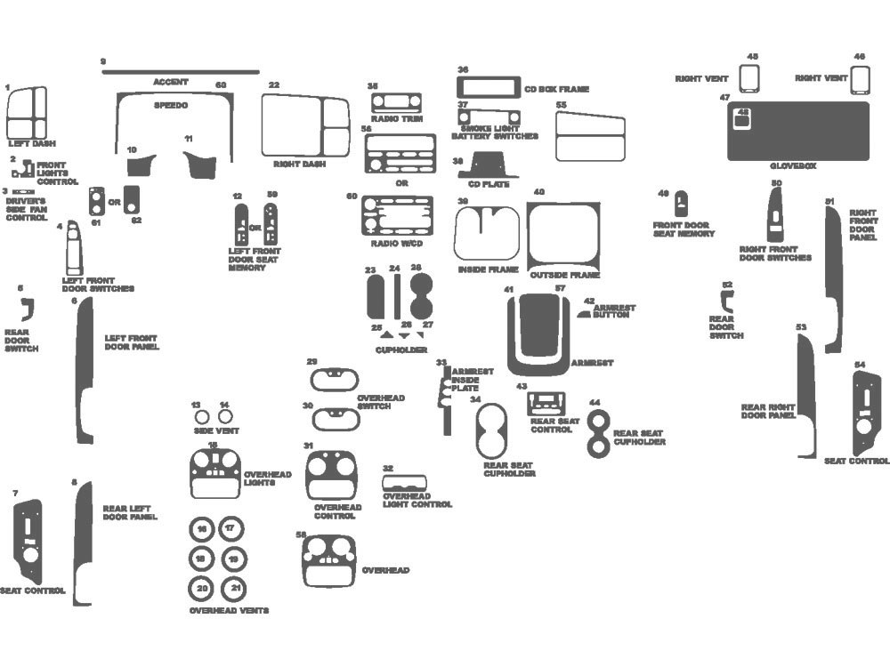 Chevrolet Suburban 2003-2006 Dash Kit Schematic