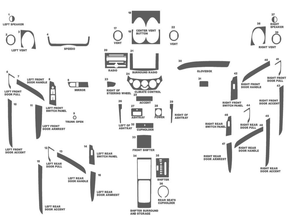 Chevrolet Aveo Sedan 2007-2011 Dash Kit Schematic