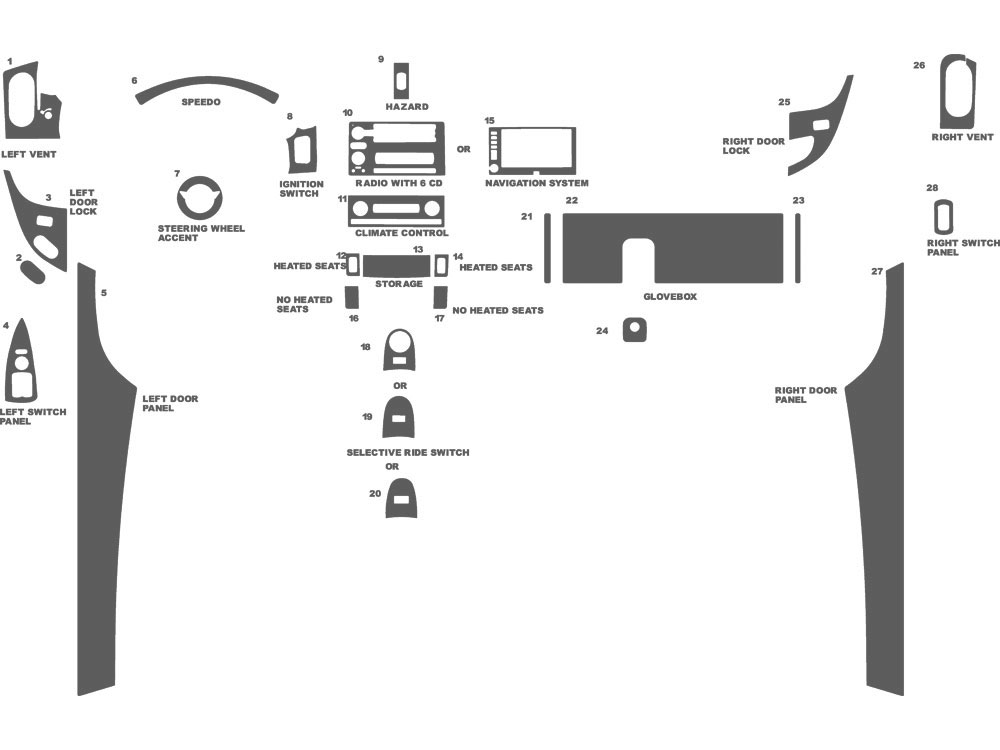 Chevrolet Corvette 2005-2013 Dash Kit Schematic