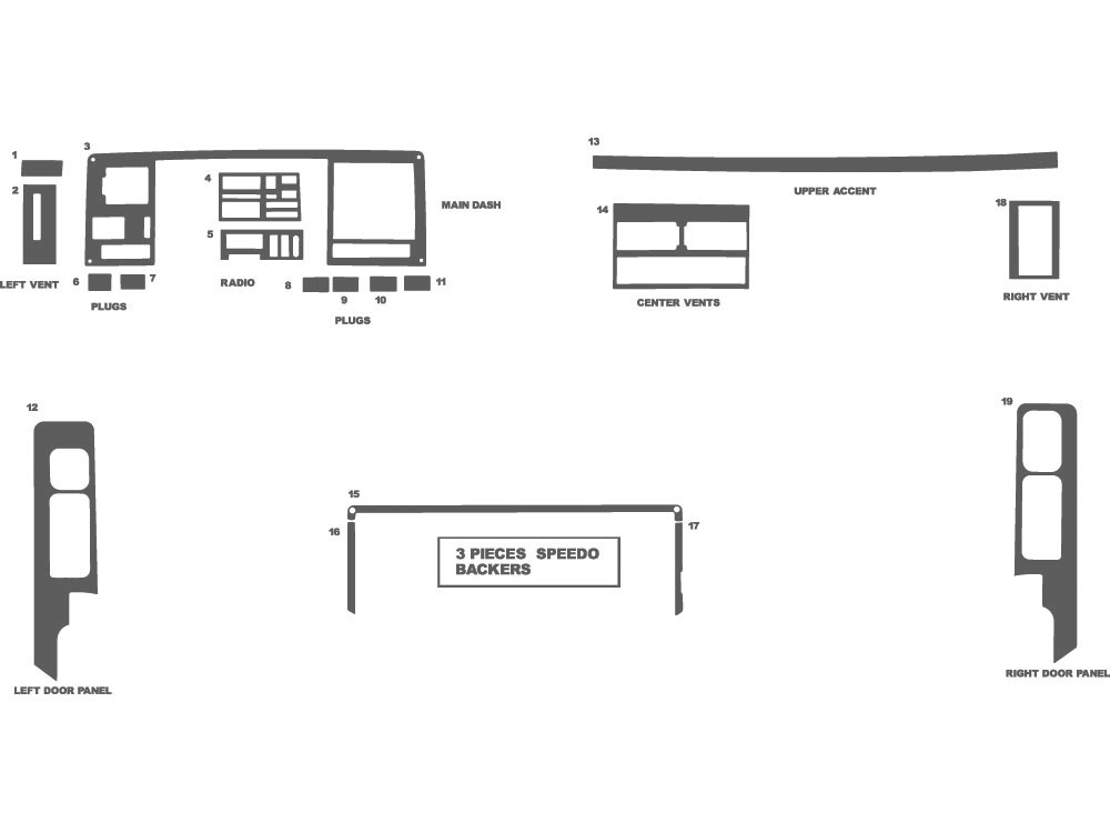 Chevrolet Pick Up Full Size 1992-1994 Dash Kit Schematic