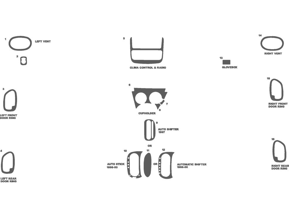 Plymouth Breeze 1997-2000 Dash Kit Schematic