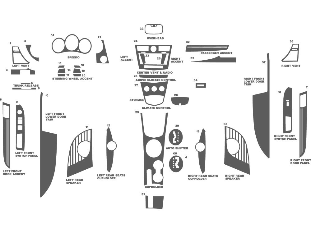 Chrysler Sebring Coupe 2007-2010 Dash Kit Schematic