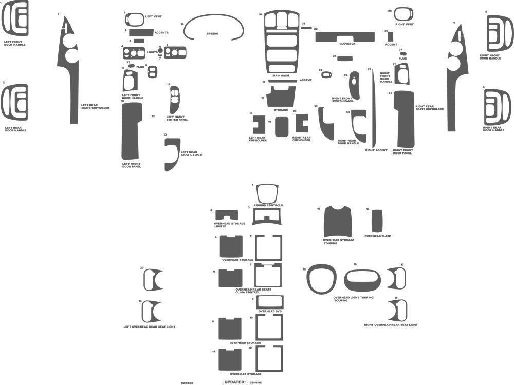 Chrysler Town and Country 2005-2007 Dash Kit Schematic