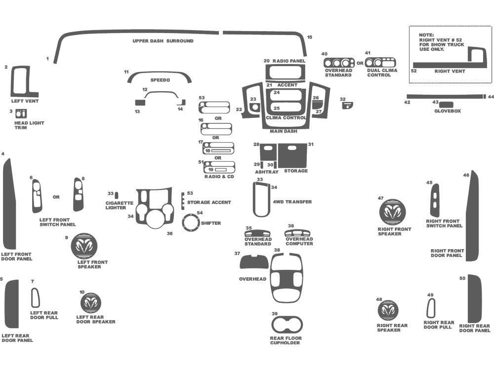 Dodge Ram 1500 2002-2005 Dash Kit Schematic