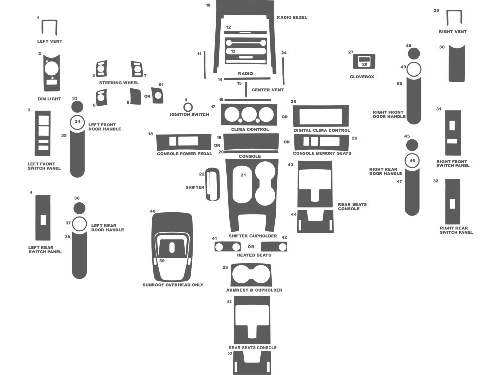 Mercury Mountaineer 2006-2010 Dash Kit Schematic