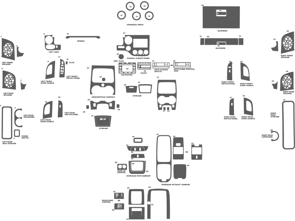 Ford Expedition 2003-2006 Dash Kit Schematic