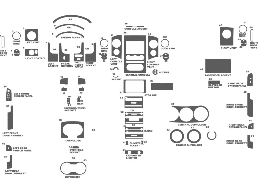 Ford F-150 Regular Cab 2004-2008 Dash Kit Schematic