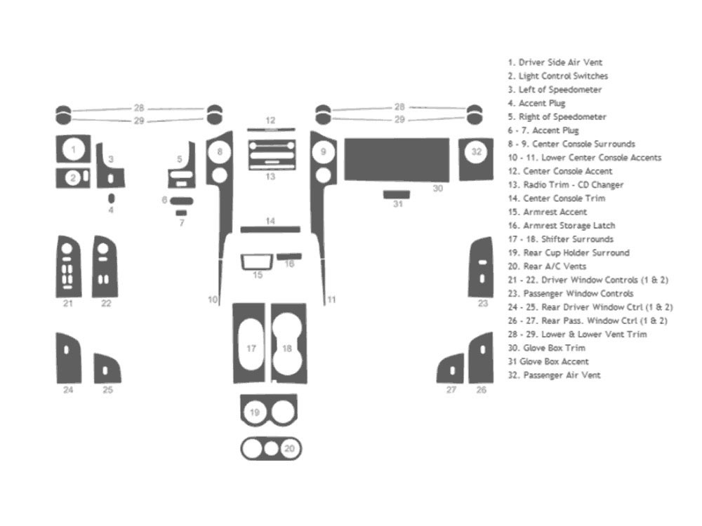 Ford F-150 FX4 / Lariat 2004-2008 Dash Kit Schematic