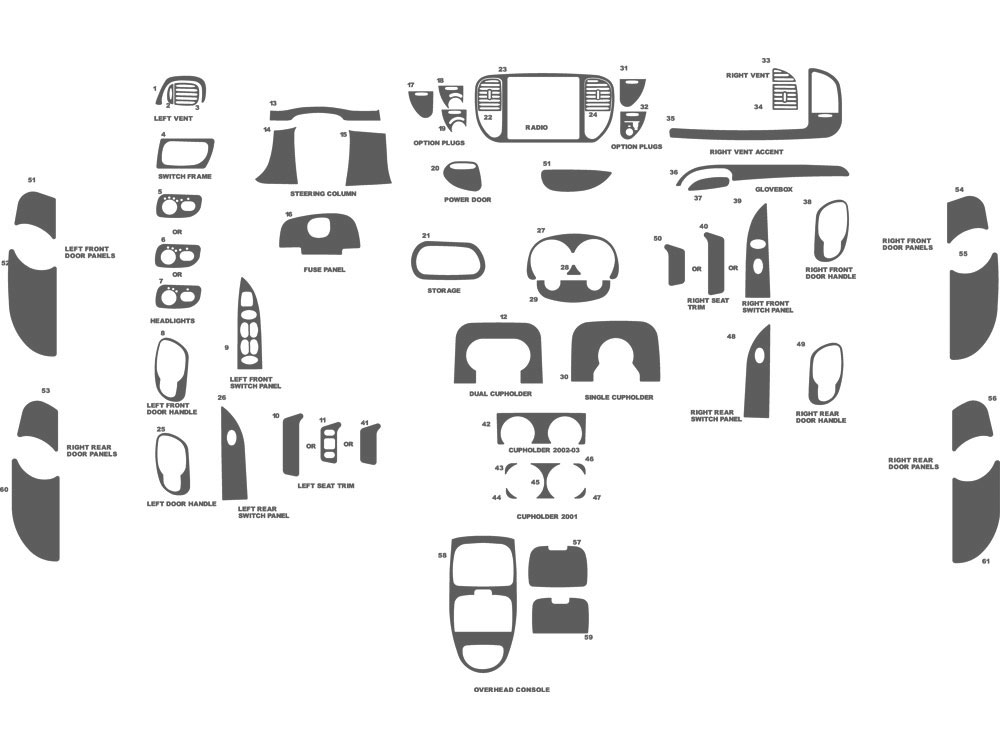 Ford F-150 SuperCrew 2001-2003 Dash Kit Schematic