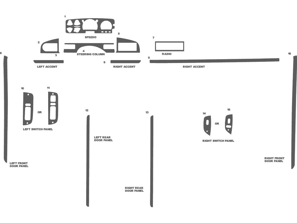 Ford F-350 1995-1996 Dash Kit Schematic