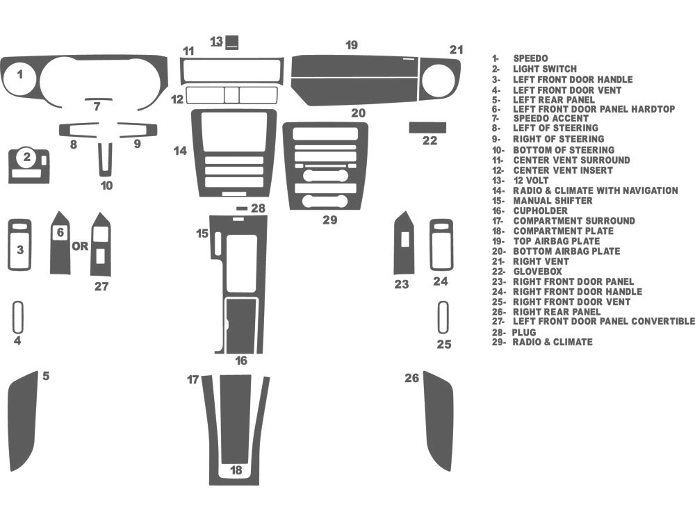 Ford Mustang 2010-2014 Dash Kit Schematic