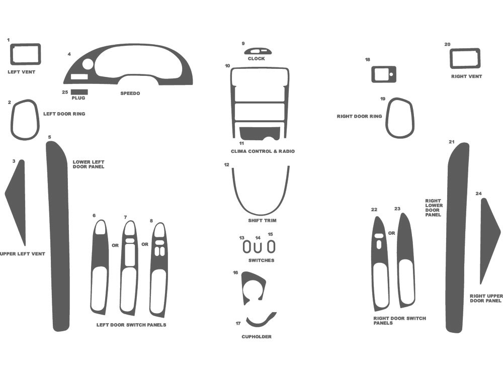 Ford Mustang 1994-2000 Dash Kit Schematic