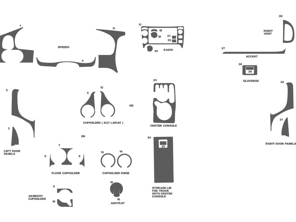 Ford Ranger 2003-2007 Dash Kit Schematic