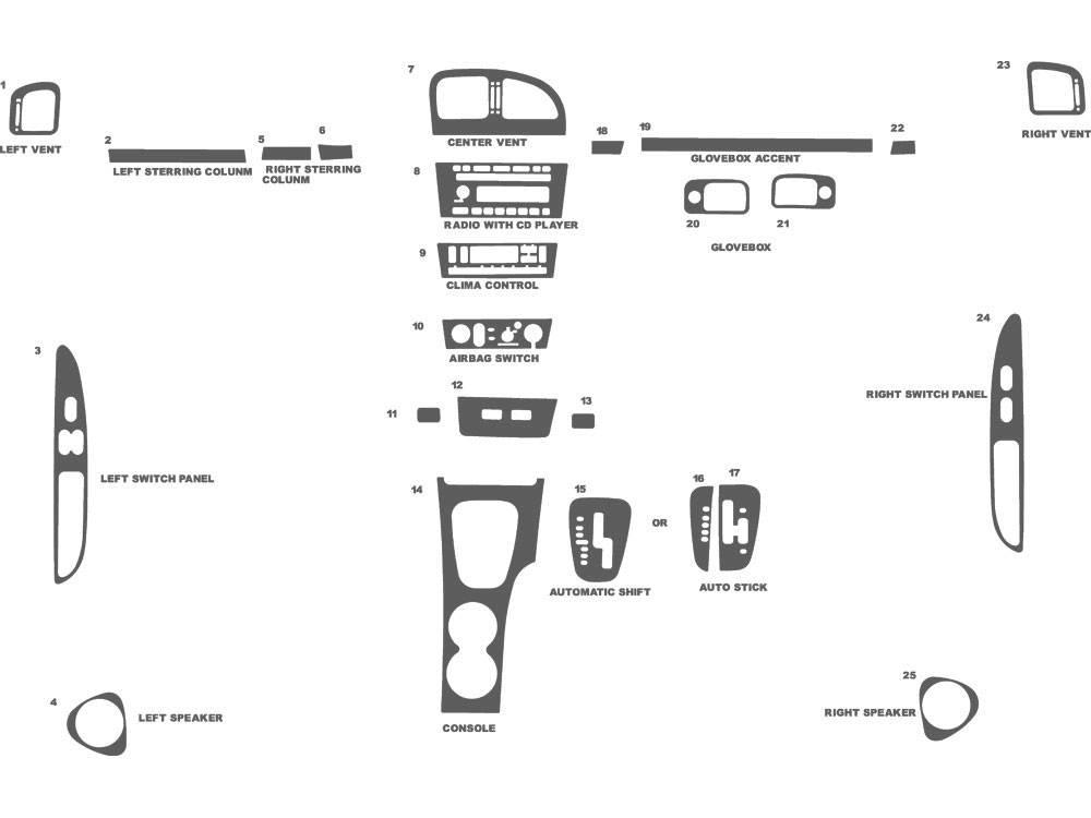 Ford Thunderbird 2002-2005 Dash Kit Schematic
