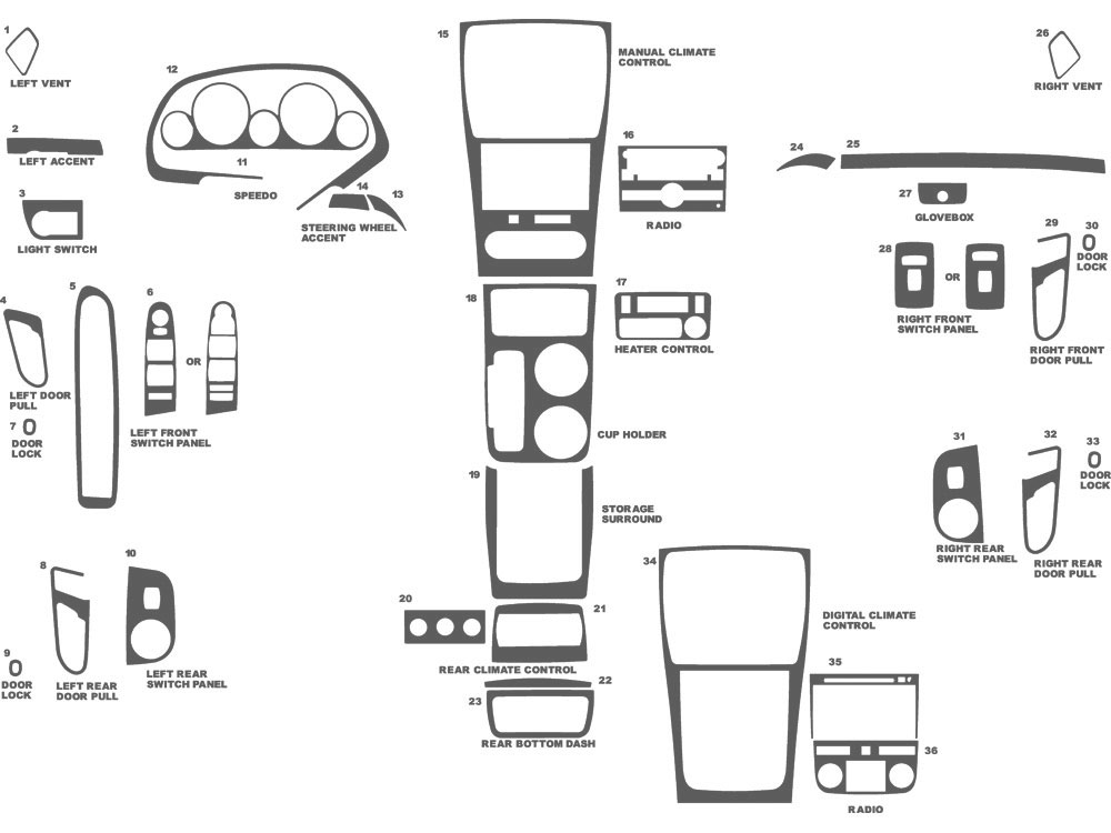 GMC Acadia 2007-2012 Dash Kit Schematic