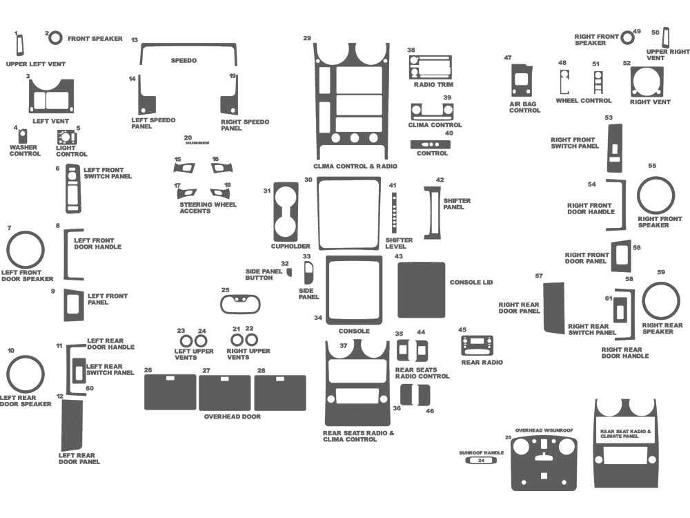 Hummer H2 2003-2007 Dash Kit Schematic