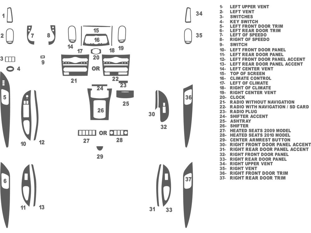Infiniti EX35 2008-2011 Dash Kit Schematic