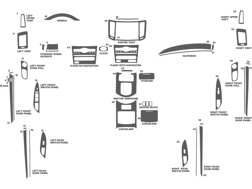 Infiniti G35 Sedan 2007-2008 Dash Kit Schematic