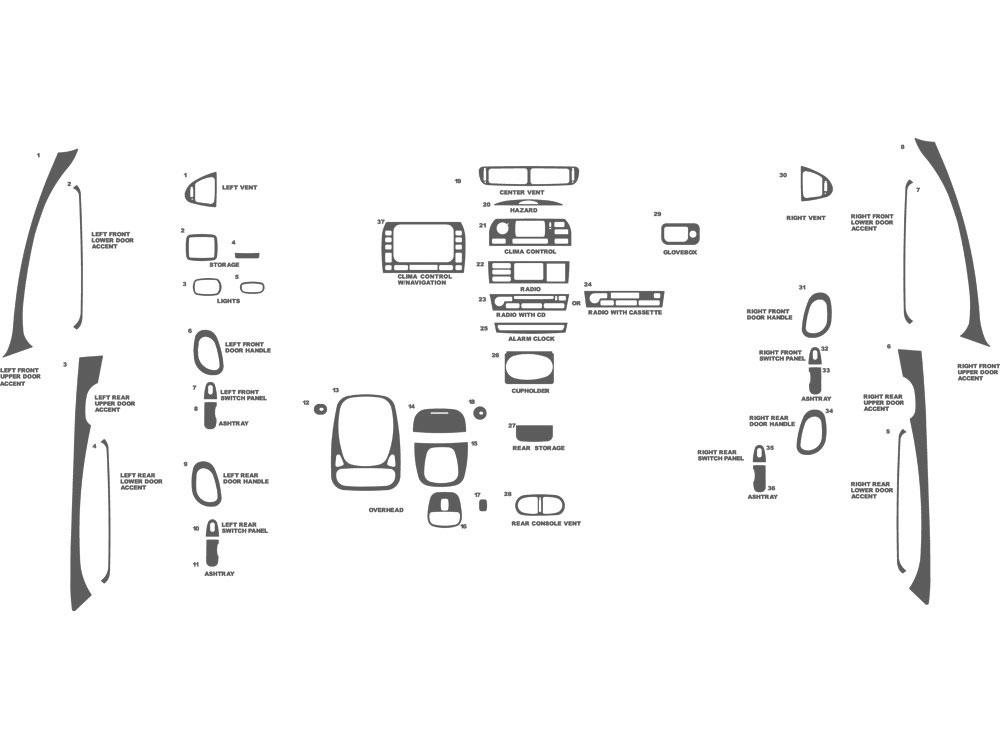 Jaguar S-Type 2003-2004 Dash Kit Schematic