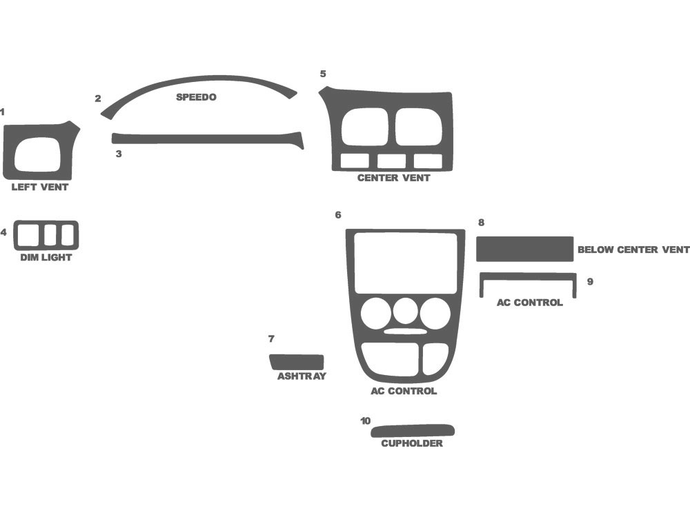 Kia Rio 2001-2002 Dash Kit Schematic