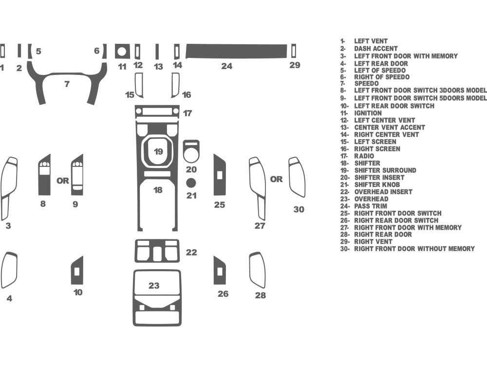 Land Rover Range Rover Evoque 2012-2016 Dash Kit Schematic