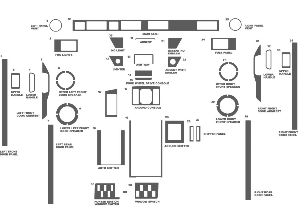 Land Rover Range Rover 1989-1993 Dash Kit Schematic