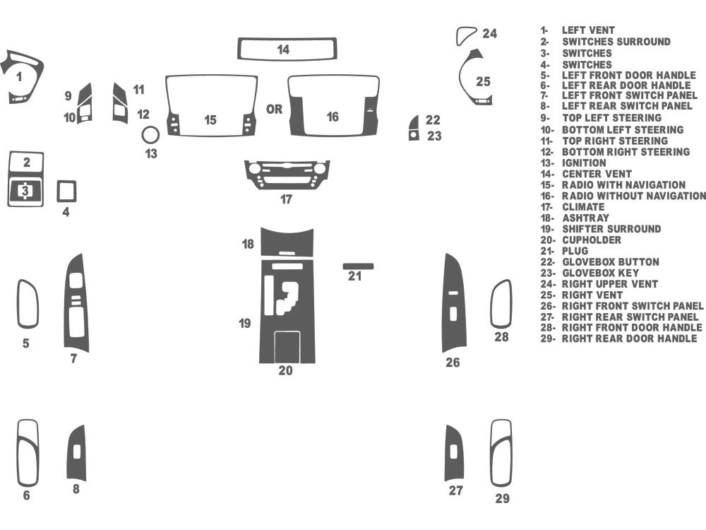 Lexus IS 2009-2013 Dash Kit Schematic