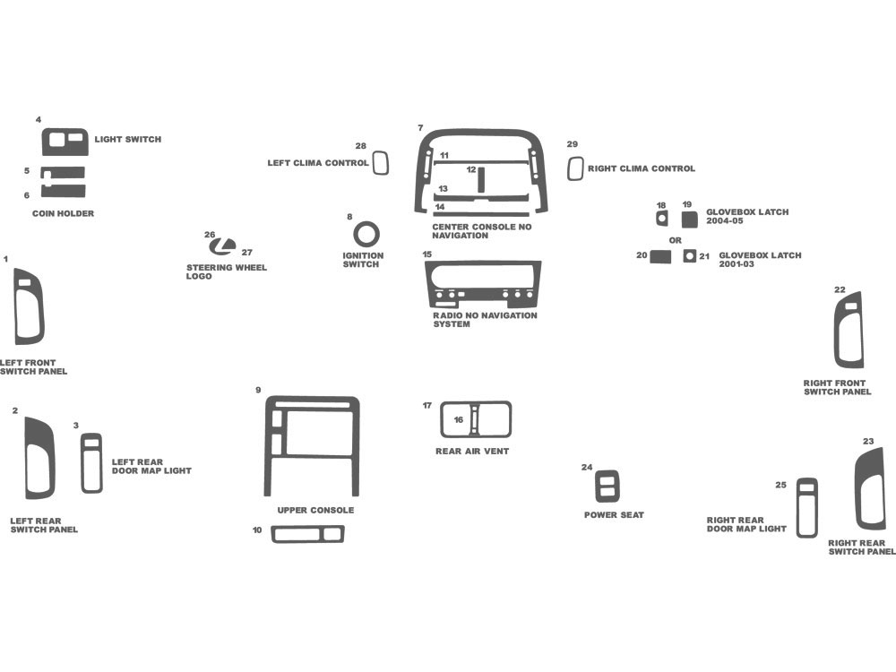 Lexus LS 2001-2003 Dash Kit Schematic