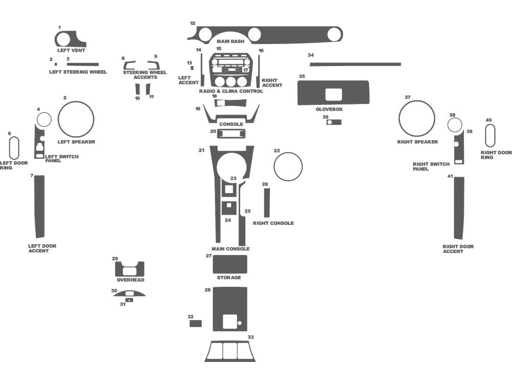 Mazda Miata MX-5 2006-2008 Dash Kit Schematic