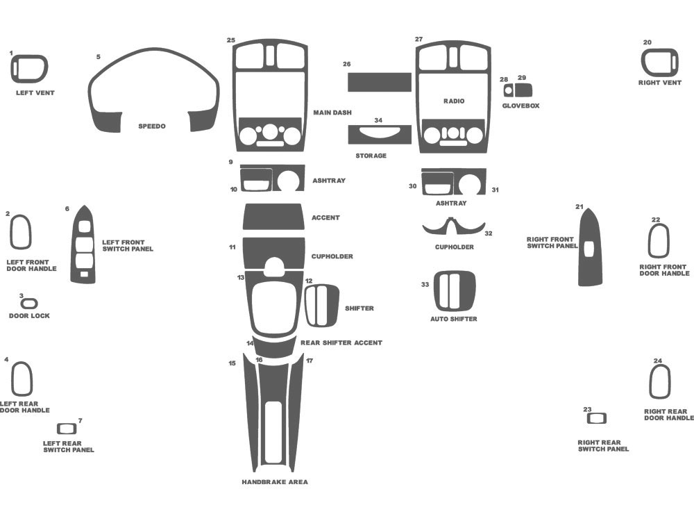 Mazda Protege 1999-2003 Dash Kit Schematic