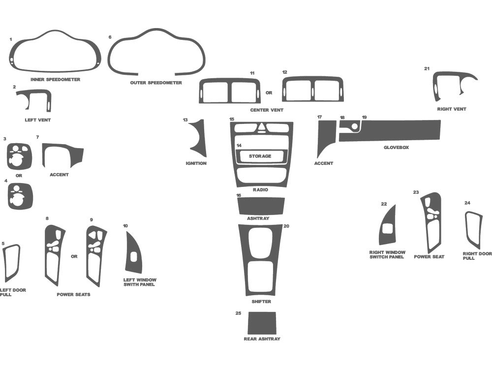 Mercedes C-Class Coupe 2002-2004 Dash Kit Schematic