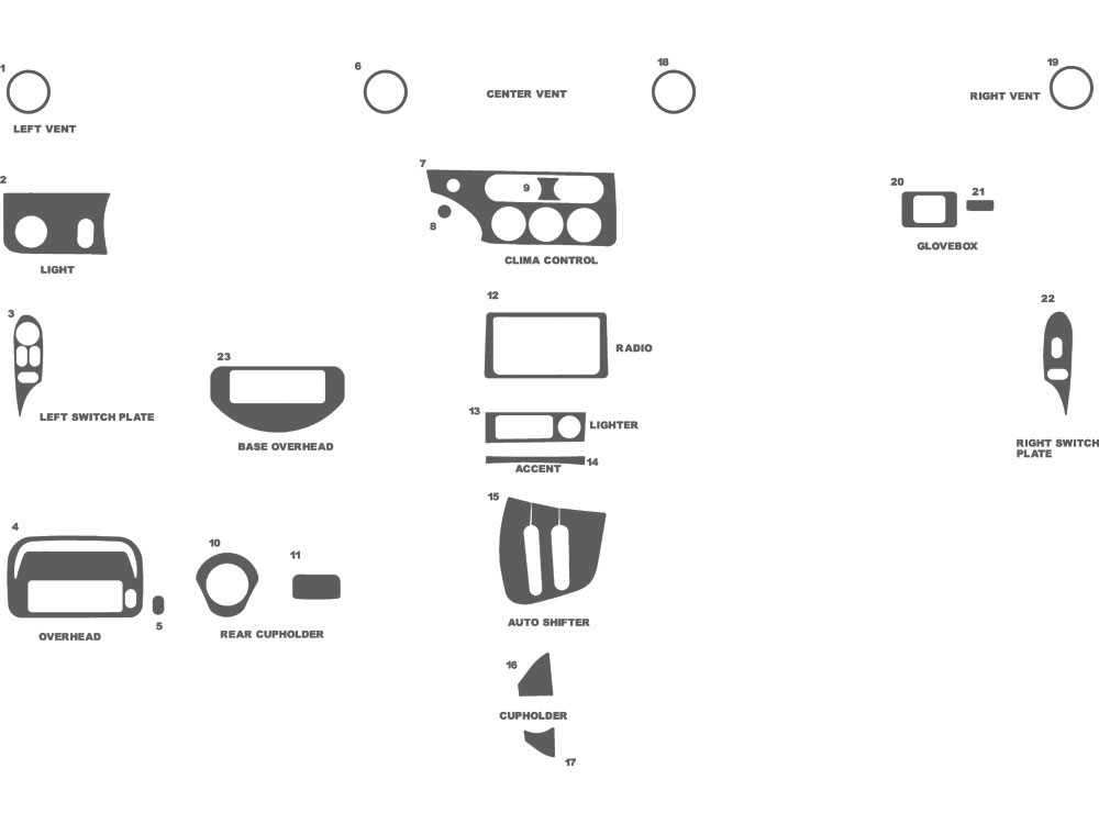 Mercury Cougar 1999-2002 Dash Kit Schematic