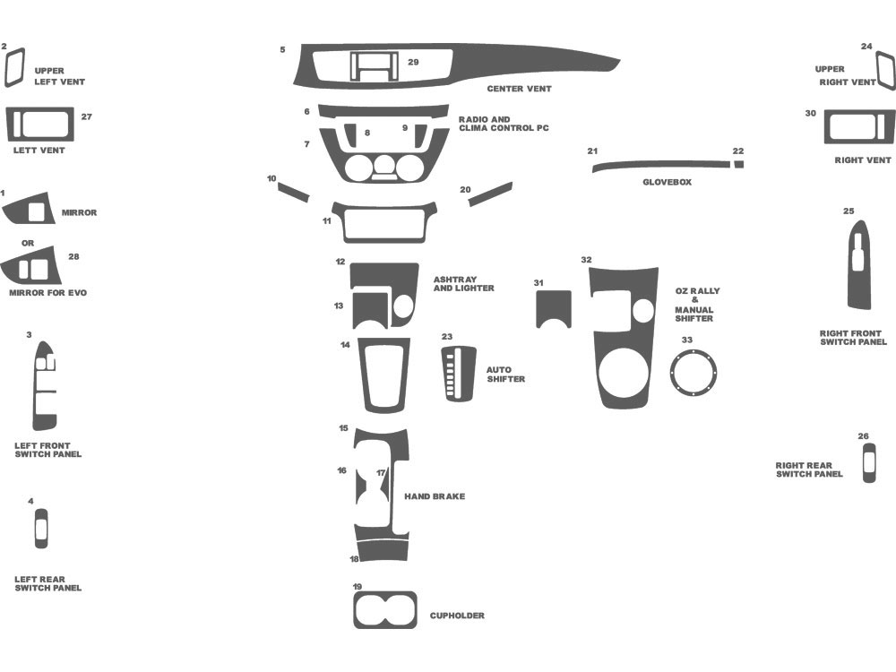Mitsubishi Lancer 2002-2006 Dash Kit Schematic