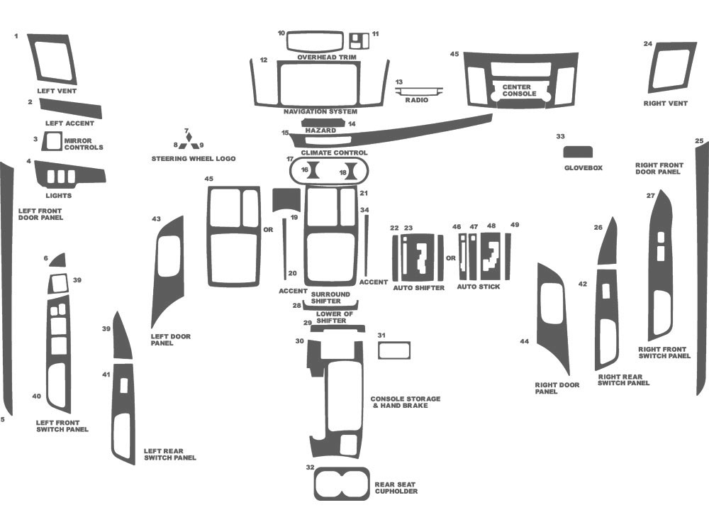 Mitsubishi Evolution 2008, 2010-2013 Dash Kit Schematic