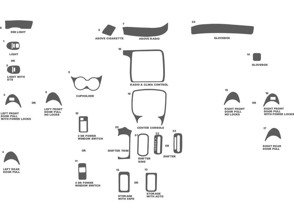 2004 Pontiac Sunfire Dash Kits | Custom 2004 Pontiac Sunfire Dash Kit