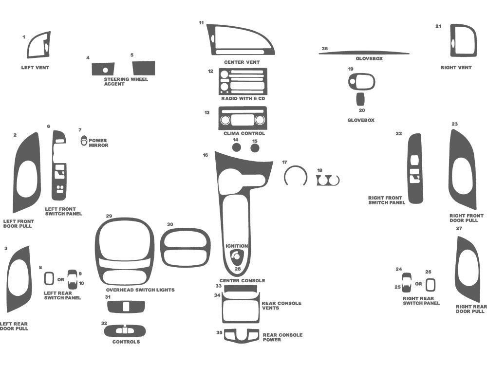 Saab 9-7X 2006-2009 Dash Kit Schematic