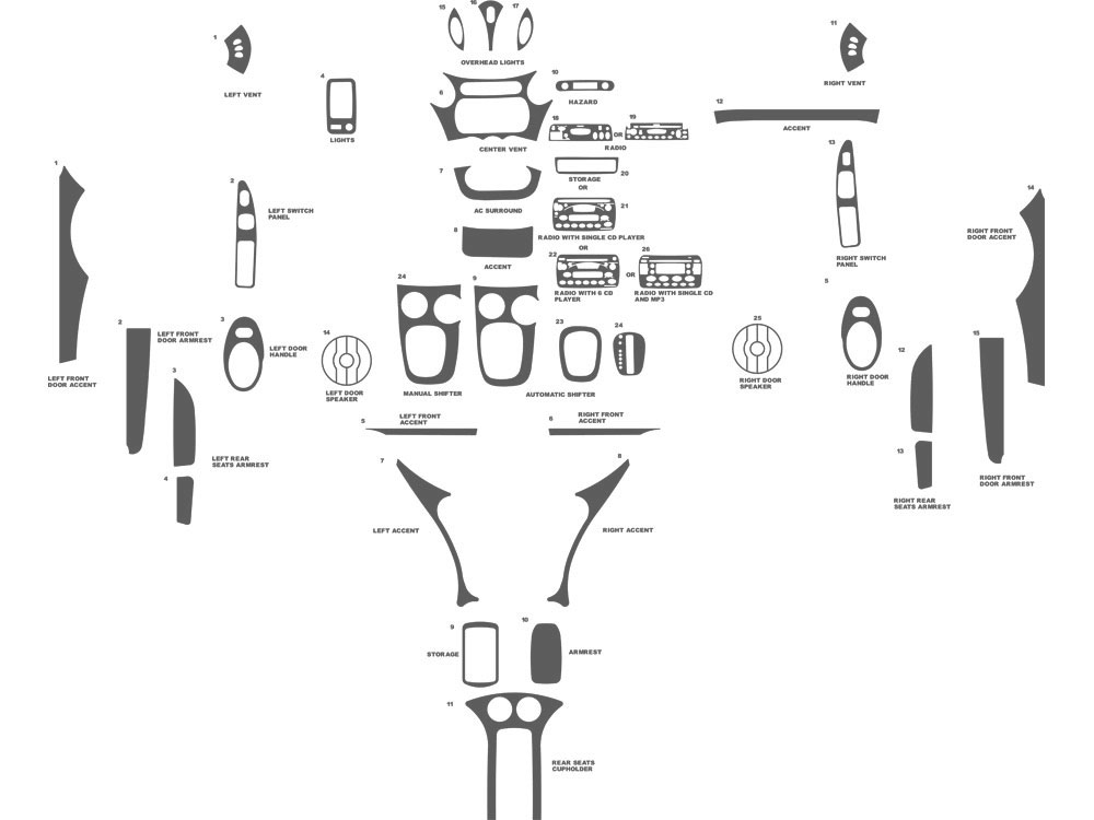 Saturn Ion Coupe 2003-2005 Dash Kit Schematic