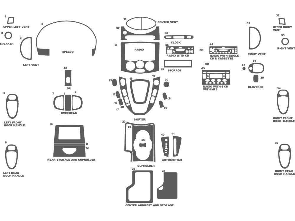 Saturn Vue 2002-2005 Dash Kit Schematic
