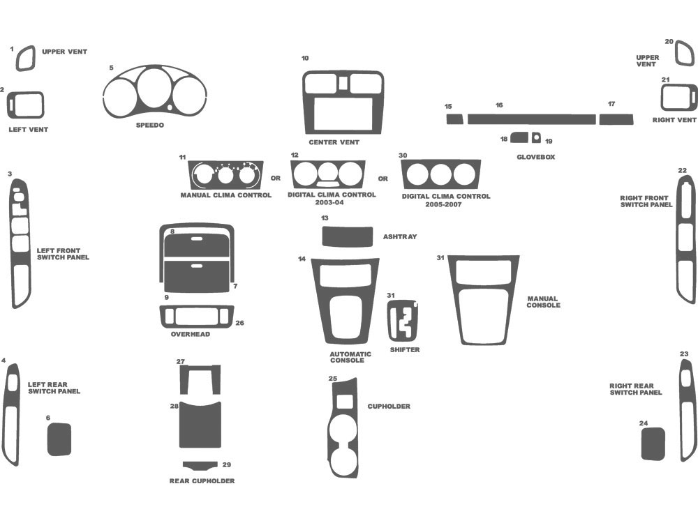 Subaru Forester 2003-2008 Dash Kit Schematic