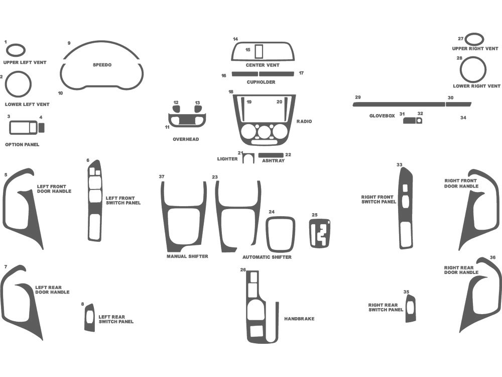 Subaru WRX 2002-2004 Dash Kit Schematic