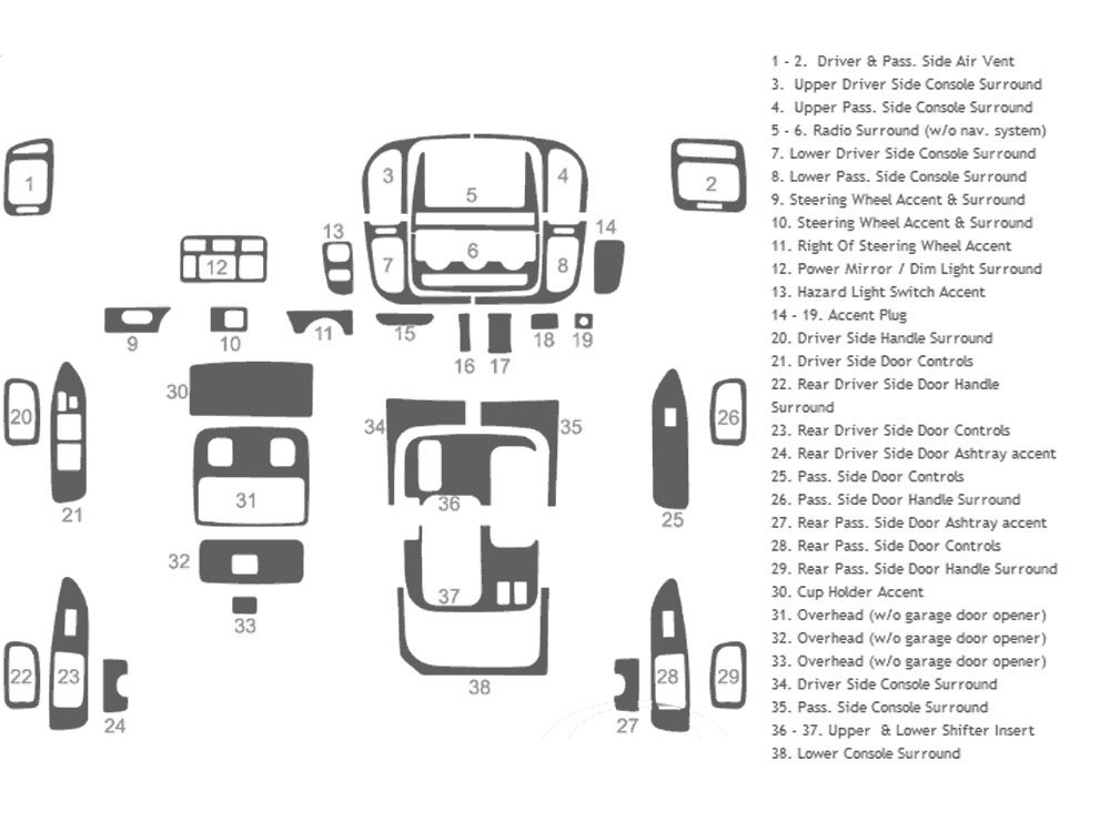 Toyota Land Cruiser 1998-2002 Dash Kit Schematic