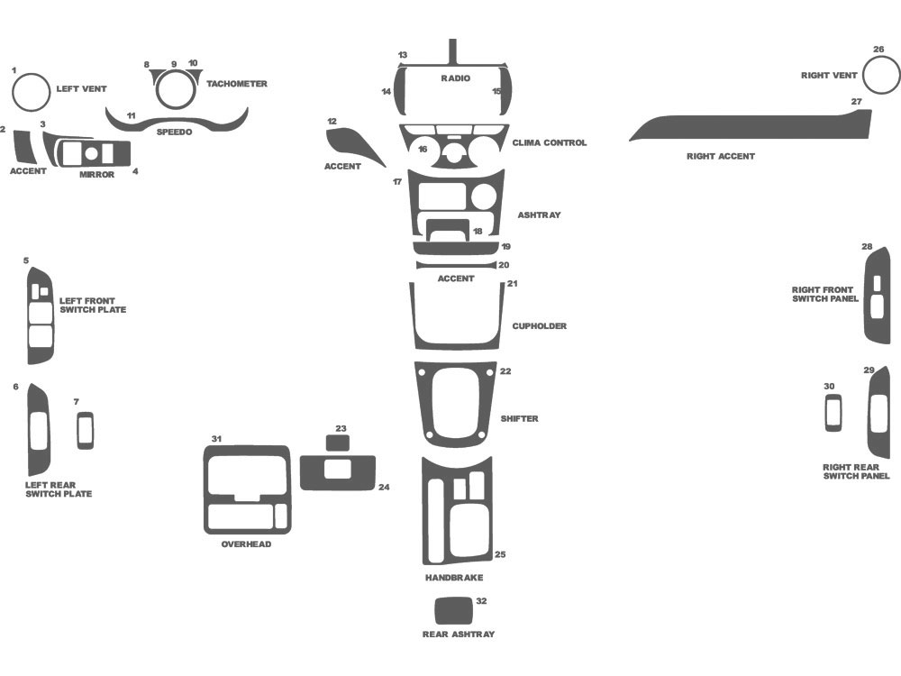 Toyota Rav4 2001-2003 Dash Kit Schematic