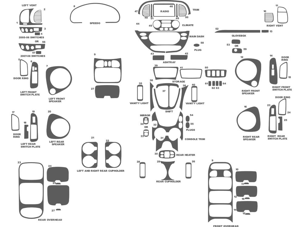 Toyota Sequoia 2001-2007 Dash Kit Schematic
