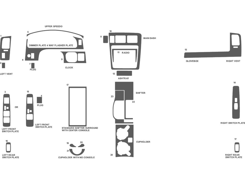 Toyota Tacoma 2001-2004 Dash Kit Schematic
