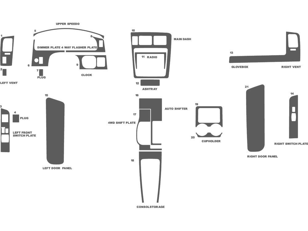Toyota Tacoma 1998-2000 Dash Kit Schematic