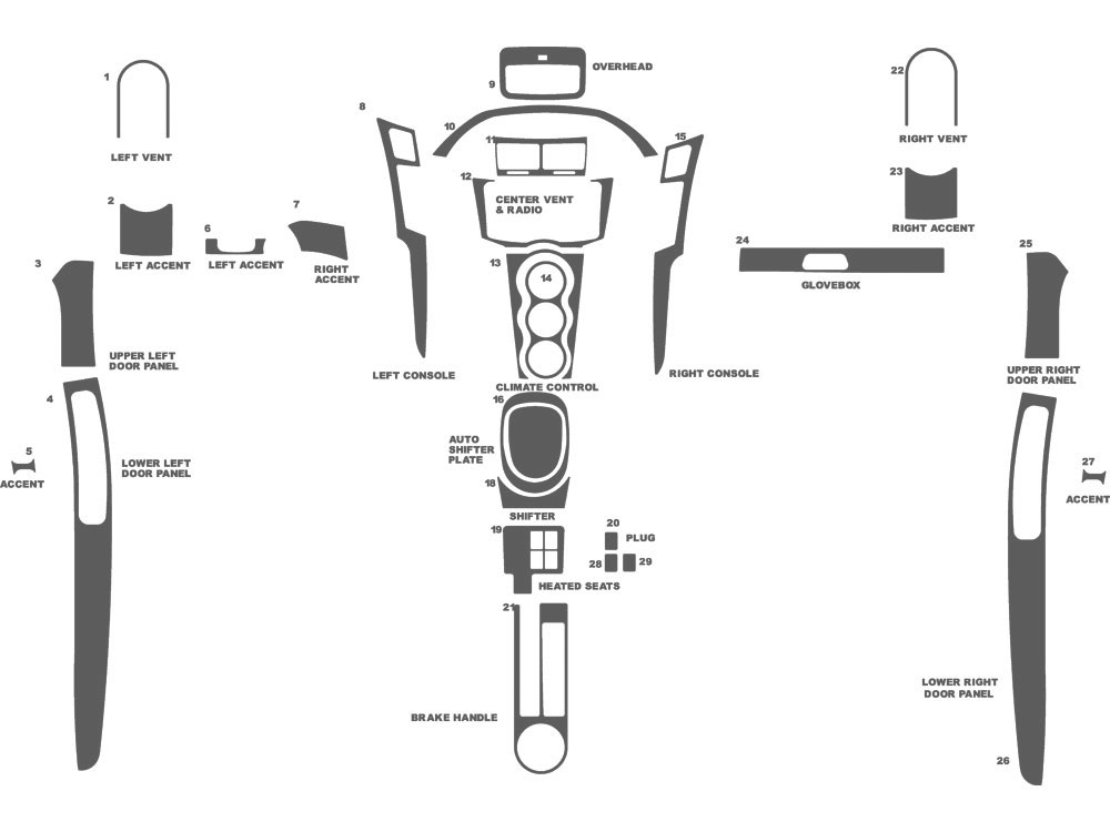 Toyota Yaris Coupe 2007-2011 Dash Kit Schematic