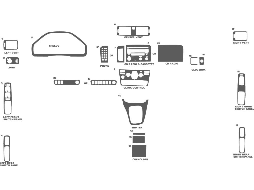 Volvo S80 1999-2003 Dash Kit Schematic